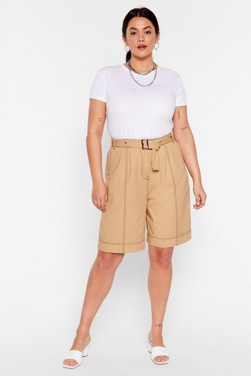 Stone Win Win Stitch-uation Plus Belted Shorts