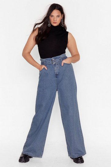 Mid blue Round Up Belted Plus Wide-Leg Jeans