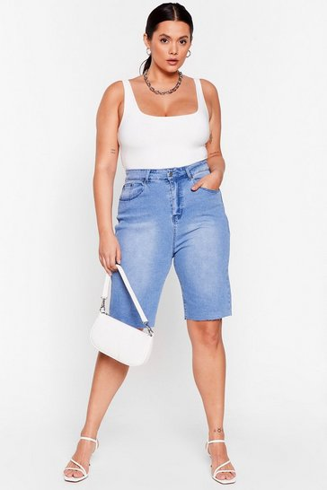 Vintage blue Faster Faster Plus Denim Longline Shorts