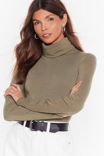 Khaki Let It Roll Turtleneck Top