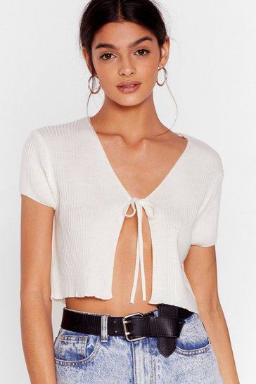 Cream Short Sleeve Tie Front Cropped Cardigan