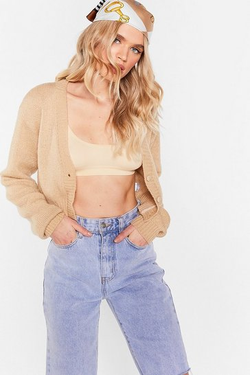 Camel Knitted V Neck Cropped Cardigan