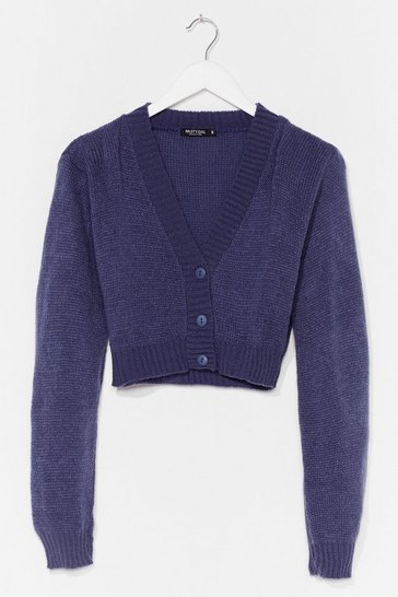 Denim-blue Knitted V Neck Cropped Cardigan