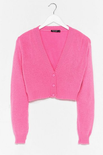 Pink Knit the Floor V-Neck Cropped Cardigan