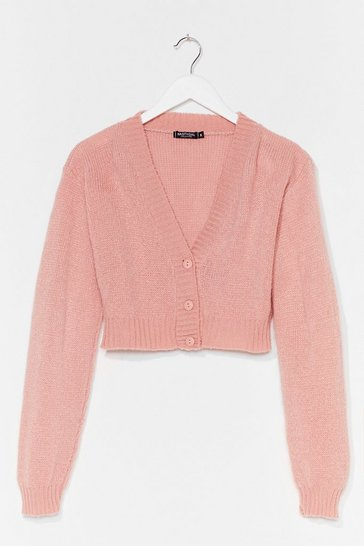 Rose Knit the Floor V-Neck Cropped Cardigan
