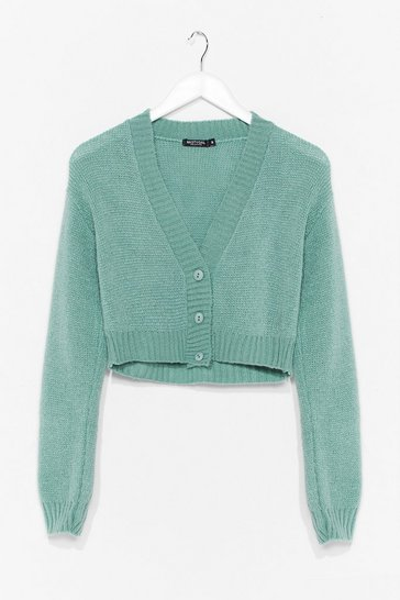 Sage Knitted V Neck Cropped Cardigan