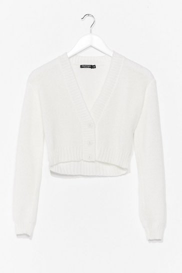 White Knit the Floor V-Neck Cropped Cardigan