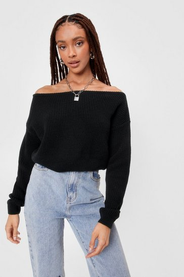 Black Something's Off-the-Shoulder Knitted Sweater