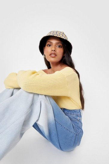 Lemon Something's Off-the-Shoulder Knitted Sweater