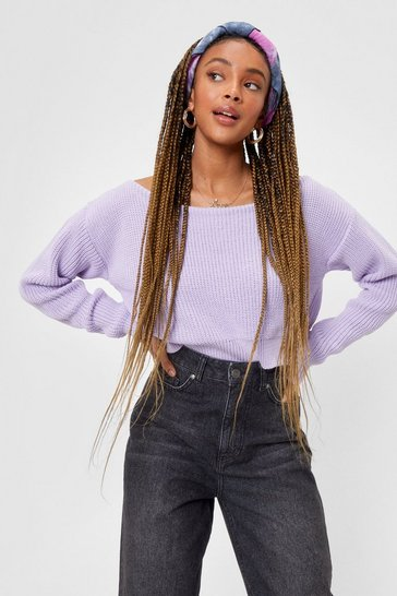 Lilac Off The Shoulder Knitted Crop Sweater