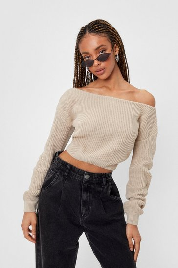 Oatmeal Something's Off-the-Shoulder Knitted Sweater