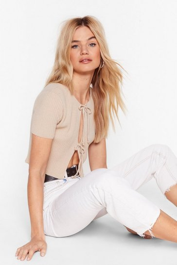 Stone Tie Open Front Ribbed Knit Crop Cardigan