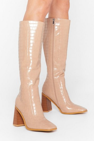 Stone Act as If You Flare Knee-High Croc Boots