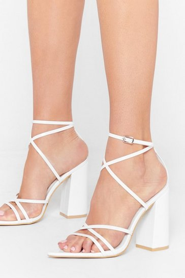 White Point Out Strappy Block Heels