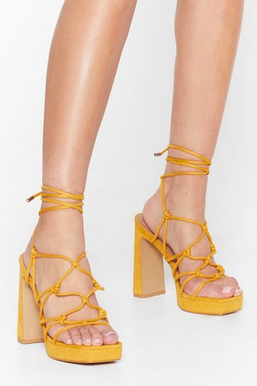 Mustard Let the Light in Lace-Up Platform Heels