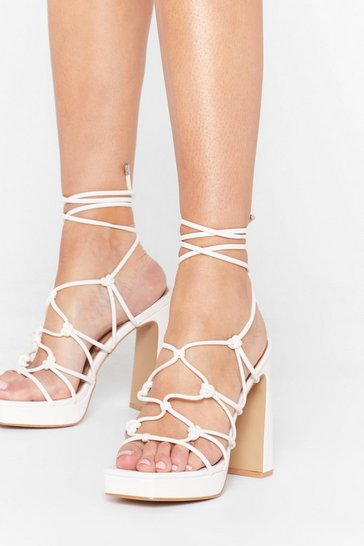 White Let the Light in Lace-Up Platform Heels