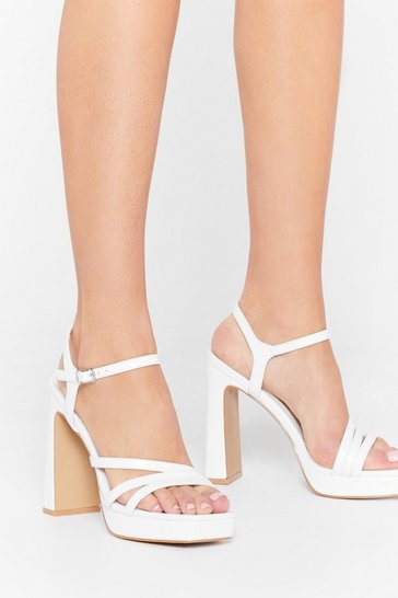 White Lift Me Up Strappy Platform Heels