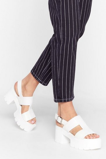 White Raise the Roof Cleated Platform Sandals