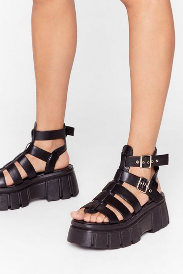 Black Mood Booster Cleated Platform Sandals