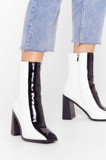 Mono See Our Differences Patent Two-Tone Boots