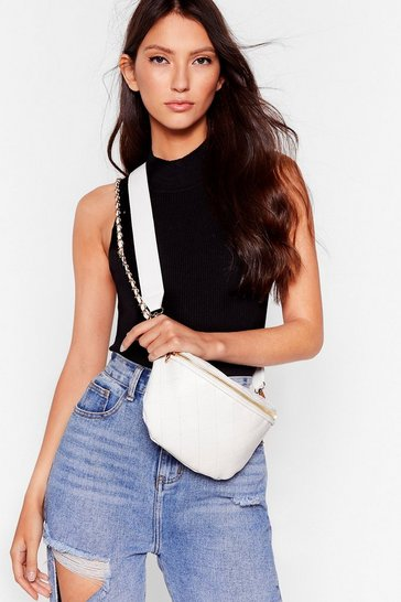 White WANT Call It Quilts Faux Leather Fanny Pack