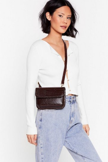 Brown WANT Better Croc Tell Crossbody Bag