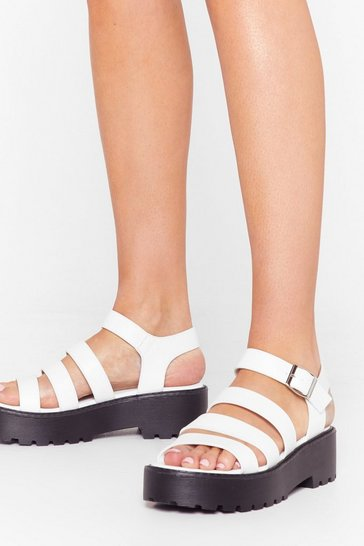 White Strike a Strappy Medium Faux Leather Sandals