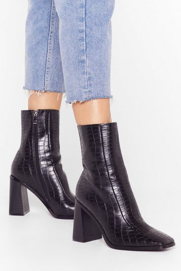 Black Who's Gonna Croc Me Faux Leather Heeled Boots