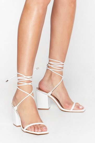 White Pu CR Square Toe Ankle Tie Heels