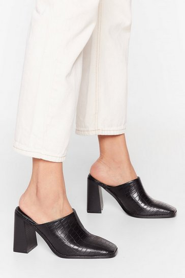 Black I'm Toe into You Heeled Mules