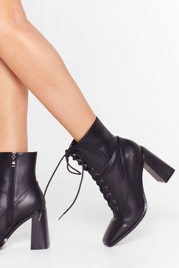 Black What's Lace-Up Faux Leather Flare Boots