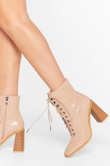 Stone What's Lace-Up Faux Leather Croc Boots