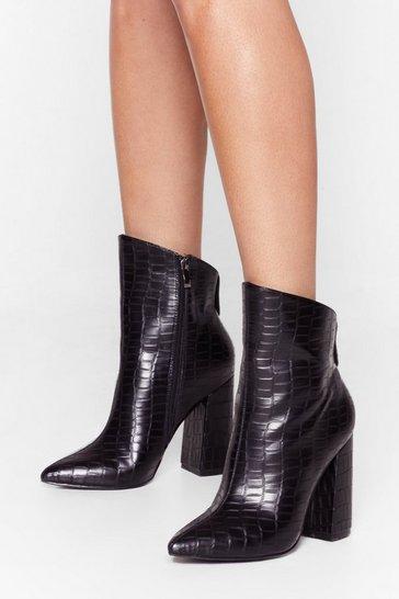 Black Slant You See Faux Leather Croc Heels