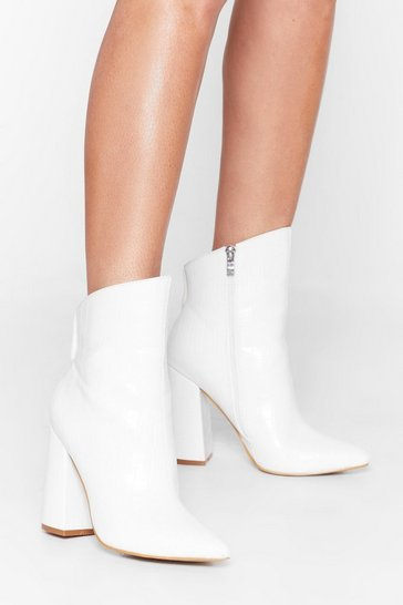 White Slant You See Faux Leather Croc Boots