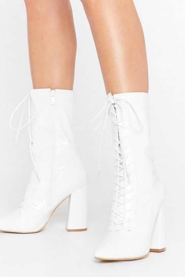 White Pu CR Block Heel Lace Up Boot