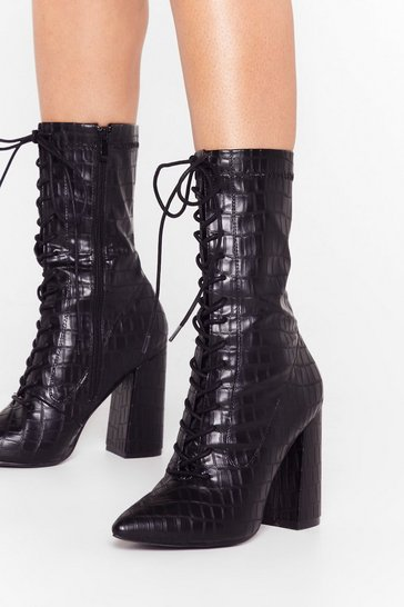 Black Croc Block Heel Lace Up Boots in Faux Leather