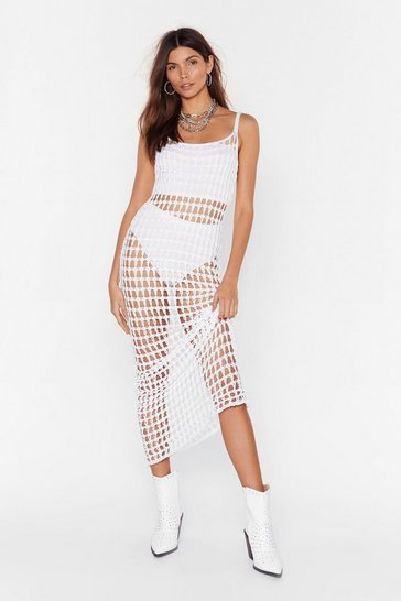 White Did It Our Crochet Strappy Maxi Dress