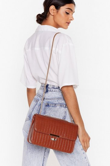 Tan Croc Flap Top Faux Leather Crossbody Bag
