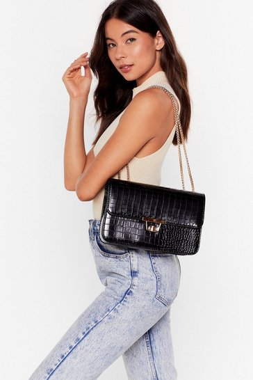 Black WANT We're Croc Impressed Faux Leather  Bag
