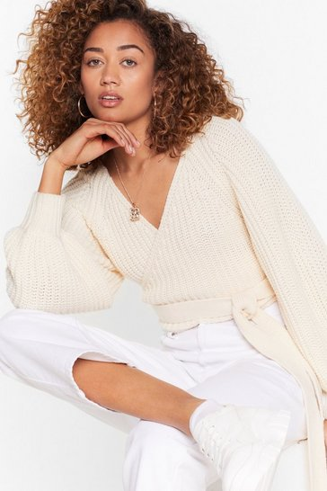 Cream Don't Tie So Hard Wrap Cropped Cardigan