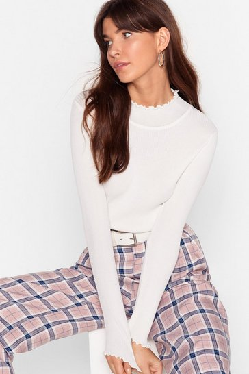 You've Got the Edge Ribbed Knit Top, White