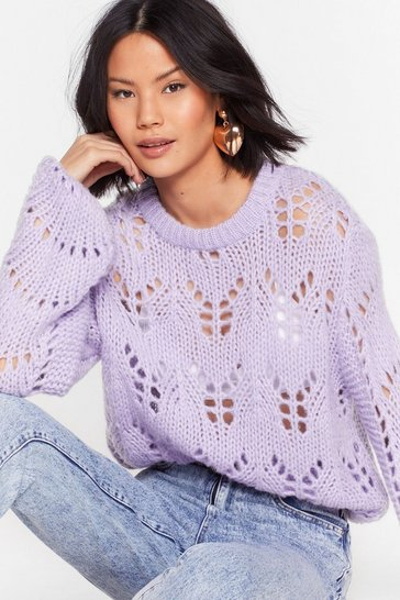 Lilac Open to It Fluffy Knit Sweater