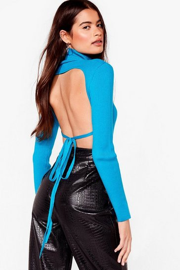 Aqua Backless Knitted Turtleneck Top