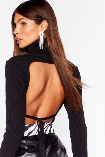 Black Backless Knitted Turtleneck Top
