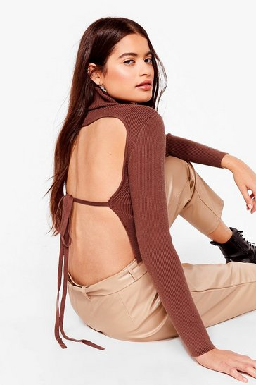 Chocolate Open Tie Back Knitted Turtleneck Top