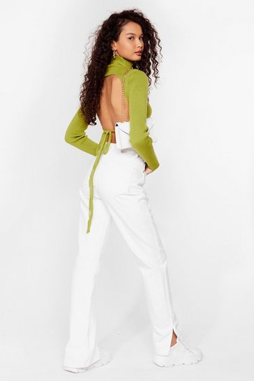 Lime Open Tie Back Knitted Turtleneck Top