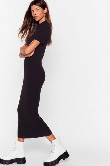 Black Knit's My Choice Puff Sleeve Midi Dress