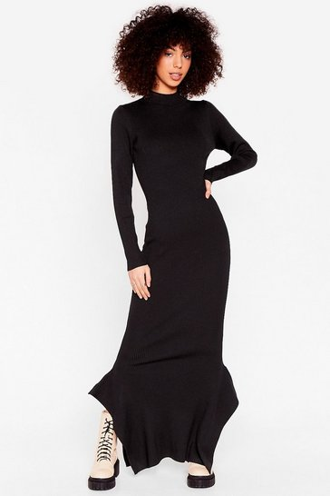 Black This Frill Do Ribbed Maxi Dress