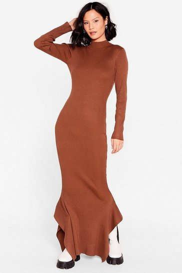 Chocolate This Frill Do Ribbed Maxi Dress