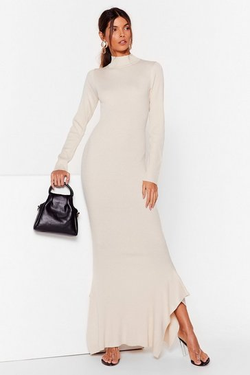 Stone Ribbed High Neck Maxi Dress